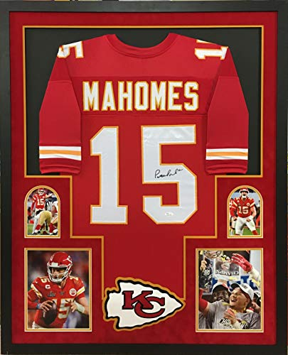 Patrick Mahomes Kansas City Chiefs Autograph Signed Red Custom Framed Jersey Super Bowl Champs Edition Full Suede Matted JSA Certified