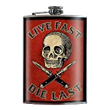 Flask - Live Fast Die Last - Red Skull Switchblades Rocker Flask - Comes in a gift box by Trixie & Milo