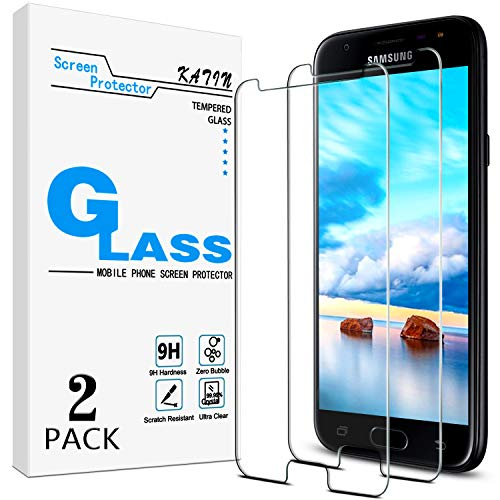 [2-Pack] KATIN For Samsung Galaxy J3 2017, J3 Emerge, J3 Prime, J3 Eclipse, J3 Mission, J3 Luna Pro Tempered Glass Screen Protector No-Bubble, 9H Hardness, Easy to Install
