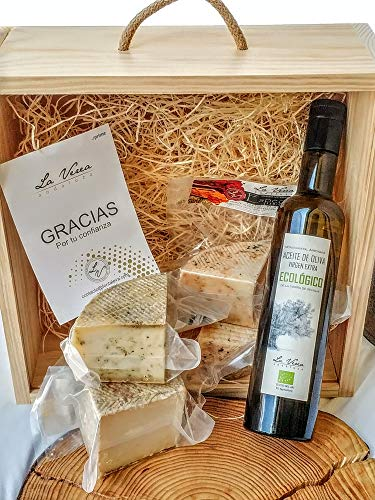 Caja Quesos Gourmet (PACK F-3) La Verea Andaluza. 4 Cuñas 1/4kg de Queso artesano Serie 'ESPECIAS' + 0.5L Aceite de oliva v.e. Ecológico. Sin Gluten. Leche Pasteurizada
