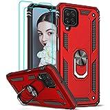 LeYi Funda Samsung Galaxy A12 con [2-Unidades] Cristal Vidrio Templado,Armor Carcasa con 360 Grados Anillo iman Soporte Hard PC y Silicona TPU Bumper Antigolpes Case para Movil A12,Rojo