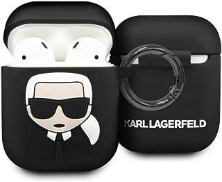 Karl Lagerfeld Etui ochronne kompatybilne z AirPods 1 i 2 – silikonowe etui – karabińczyk – głowica z reliefem (czarna), K...