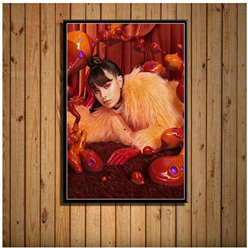 FACAIA Pôster de pintura em tela Charli XCX Popular Music Singer, Star Art Decor para quarto, sala de estar, decoração de casa, 50 x 70 cm, sem moldura