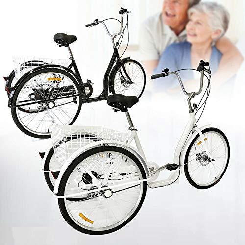 Triciclo para adultos, bicicleta de ciudad, ruedas dentadas, triciclo para adultos, con cesta y reflector frontal, 26 pulgadas, 3 ruedas, para adultos, para personas mayores