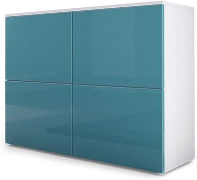 Vladon Commode Buffet Rova, Corps en Blanc Mat/Portes en Turquoise Haute Brillance et Turquoise Haute Brillance