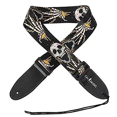 Simtyso Adjustable Soft Leather Thick Strap Skull Style for Electric Acoustic Guitar Bass Guitar