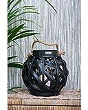 Riviera Maison - Tiberio - Lantern - Laterne/Windlicht - Holz - Schwarz - D: 29cm x H: 33cm - Lieferung erfolgt ohne Kerze!
