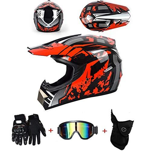 LZSH Casco de motocross profesional, casco de protección ATV, casco Downhill, cascos y enduro juveniles, casco de mascarilla, guantes (BP-03,S: 52-56 cm)