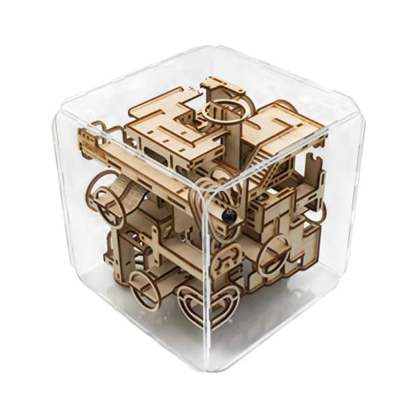 Intrism Pro – 3D Wooden Puzzle Kit & Challenging Marble Labyrinth Game – Gift for Teens and Adults, 180+ Laser Cut Pieces, Made in USA