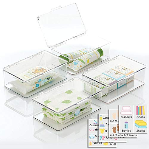 mDesign Stackable Plastic Storage Box with Hinged Lid - Organizer for Kids...