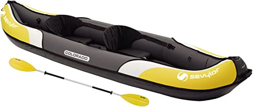 Sevylor Colorado Inflatable Canoe Kit, 2 Person Folding Kayak with 1 Double Paddle, Foot Pump, 331 x 88 cm