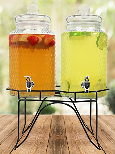 Estilo Hammered Glass Double Beverage Drink Dispenser On Stand With Leak Free Spigot, 1 gallon,...