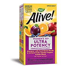 MULTIVITAMIN: Alive! multivitamin for women 50 plus contains essential nutrients that help support bone health, eye health, urinary health, and energy* ULTRA POTENCY: The most complete, nutrient diverse women's vitamin formulated with food-based blen...