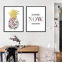 北欧のシンプルなキャンバス絵画塗装小さな新鮮なパイナップル今すぐポスターリビングルーム寝室の壁アート写真家の装飾50x70cmx2フレームなし