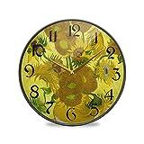 ART VVIES Reloj de Pared Redondo de 12 Pulgadas Que no Hace tictac silencioso operado por batería Oficina Cocina Dormitorio Decoraciones para el hogar-Quince Girasoles Vango