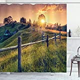 Ambesonne Europe Shower Curtain, Morning Sunbeams Over The Countryside with a Farmhouse and Fences Colorful Sky Carpathian Ukraine, Cloth Fabric Bathroom Decor Set with Hooks, 70' Long, Green Salmon
