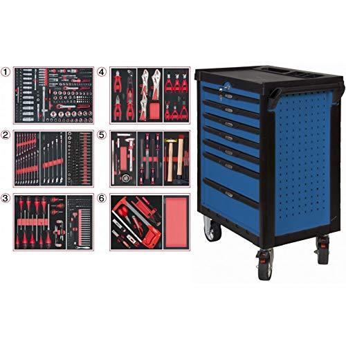 KS Tools 804.7452 Pearlline gereedschapswagen, 7 laden, 455 gereedschappen, blauw