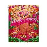 Nrxue Pintura Digital de Bricolaje Pintura a Mano Pura Juego para Principiantes Kit de Pintura al óleo para niños Adultos-Flamingo-40x50cm (16x20inch)-sin Marco