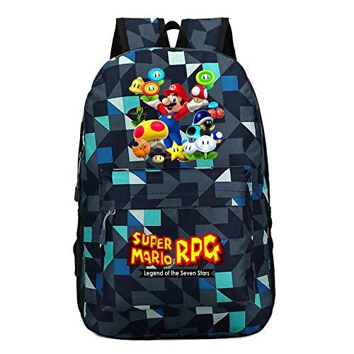 Super Mario Lässiger Rucksack Reisetasche Sport Daypack Schulrucksack Cartoon gedruckt Daypack Super Mario Kinderrucksäcke (Color : A3, Size : 30 x 12 x 45cm)