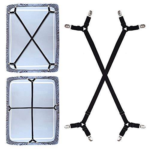 Premium Bed Sheet Fasteners, 2 Pcs Adjustable Crisscross Fitted Sheet Band Straps Grippers Suspenders Corner Holder Elastic Heavy Duty for All Bedsheets Fitted Sheets Flat Sheets Long Type (Black)