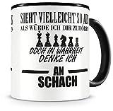 Samunshi® Ich denke an Schach Tasse Kaffeetasse Teetasse Kaffeepott Kaffeebecher Becher Nr.1: schwarz/schwarz H:95mm / D:82mm