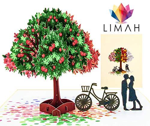 """LIMAH® """"Vier Jahreszeiten"""" Pop Up 3D Grußkarte/Hochzeit-Karte, Geburtstag-Karte, Dankeskarte, Valentinstag-Karte, Geschenkkarte/Baum, Fahrrad, Liebespaar, Motiv/in Beige/Groß"""