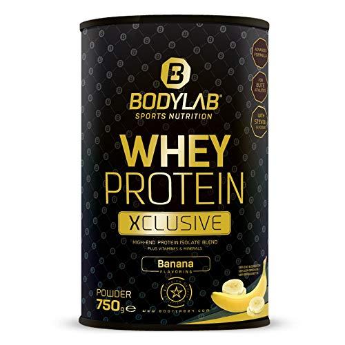 Bodylab24 Whey Protein Isolate Xclusive 750g Banane, Eiweißpulver mit Whey-Protein-Isolat und Calciumcaseinat, Protein-Shake mit Vitamin C und den wichtigen Mineralstoffen Calcium, Zink, Magnesium