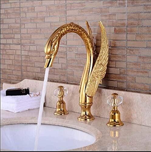 Grifo de baño grifo cisne caño ampliamente utilizado fregadero mezclador latón dorado 3 agujeros negro aceite cepillado lavabo grifo oro estilo 2-oro estilo 2