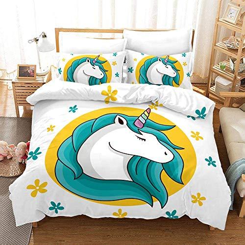 771 Duvet Cover Sets 3D Unicorn Printing Bedding Set 100% Polyester 1 Duvet Cover And 2 Pillowcases 3pcs H-EU Twin Single135x200cm