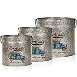 Galvanized Tin Planters, Metal Flower Pots, Farmhouse Rustic Round Tubs, Shabby Chic Buckets, Gardening Gift, Vintage Garden Home Decor Set of 3