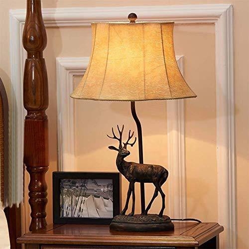 LLLKKK Lámpara de mesa LED con diseño de alce forjado de hierro forjado para dormitorio o salón