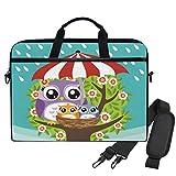 Emoya 33,3-14 Zoll Laptoptasche Eule Frühling Blumen Regen Tragbare Tasche Aktentasche mit...