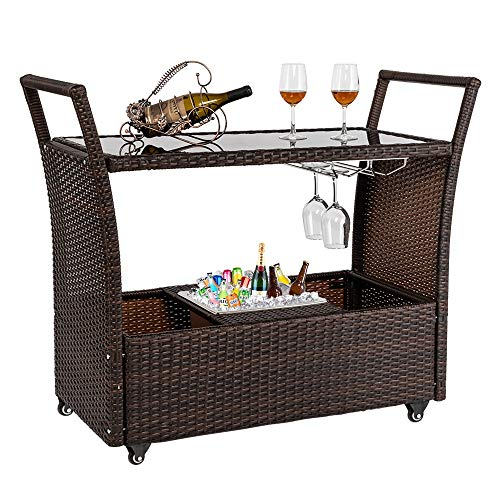 Bonnlo Outdoor Wicker Bar Cart with Wheels and Ice Bucket, Rolling Patio Wine Cart Rattan Bar Serving Cart with Glass Top and Wine Glass Holder for Pool, Party, Backyard, Porch