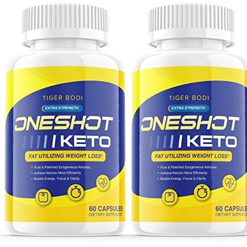 (2 Pack) One Shot Keto Pills Oneshot Keto Fat Advanced Weight 1 Shot Formula Supplement As Seen on TV, Exogenous Ketones for Rapid Ketosis (120 Capsules)