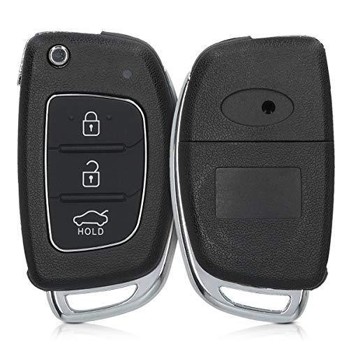 kwmobile Funda Llave Coche Compatible con Hyundai Llave de Coche Plegable de 3 Botones - Repuesto plástico Duro para Mando de Auto - Negro