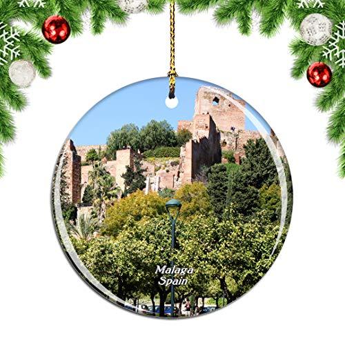 Weekino España Gibralfaro Castillo Málaga Decoración de Navidad Árbol de Navidad Adorno Colgante Ciudad Viaje Colección de Recuerdos Porcelana 2.85 Pulgadas