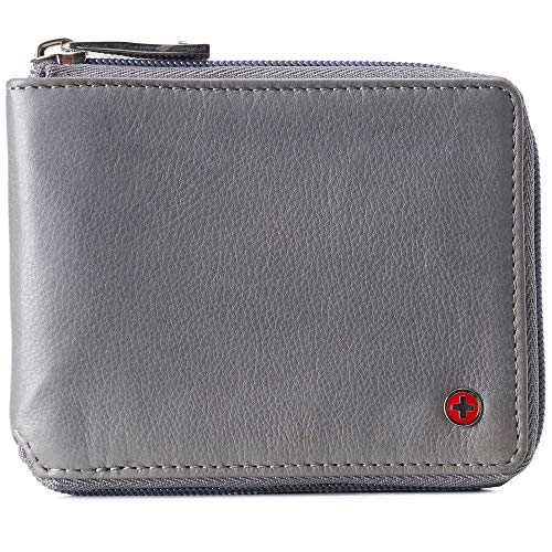 Alpine Swiss Logan Zipper Bifold Wallet For Men or Women RFID Safe Comes in a Gift Box Gray
