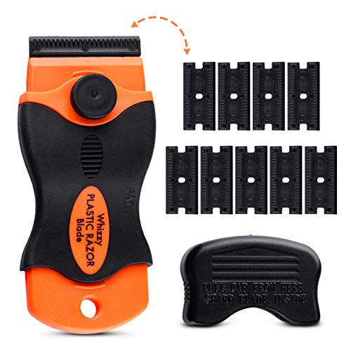 Whizzy Wheel Plastic Razor Blades Scraper with Contoured Grip. 10 Double-Edged Plastic Blades and Ideal for Car Vinyl, Decal & Tint Removal