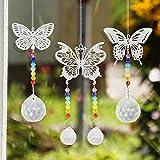3 Stück Sonnenfänger Kristalle Prisma, Kristalle Schmetterlinge Fensterdeko Hängend, Sonnenfänger Fenster Schmetterlinge Deko, Glas Anhänger Kristallkugel