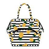 Floral Lunch Box for Womens Wide-Open Lunch Tote Bag Freezable Organizer Lunch Holder for Work/Picnic/Office/School Teal