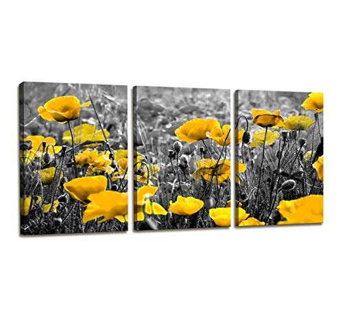 Canvas Wall Art Contemporary Simple Life Yellow Poppy Flowers Floral Painting Bedroom Wall Decor - 3 Panels Framed Canvas Prints Black and White Style Wall Picture for Bathroom Office Decorations