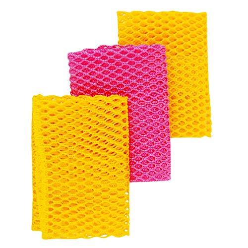 Innovative Netz-Tücher zum Geschirrspülen / Scheuerlappen-100 % geruchsfrei / schnelltrocknend–nie mehr Schwämme mit Schimmel-Geruch–Idealer Scheuerlappen zum Abspülen-28 x 28cm-3Stück