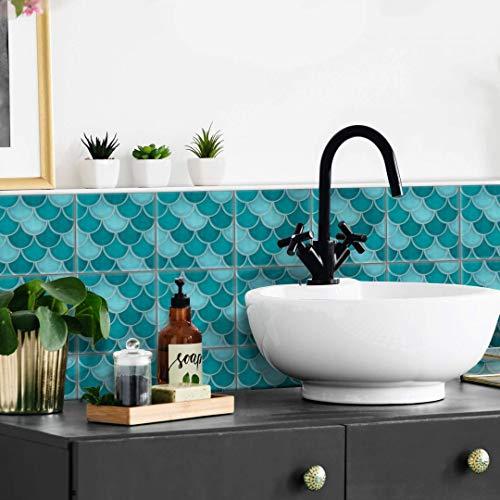 Adhesivo para azulejos y muebles, mate, 15 x 15 cm, diseño de escamas de pescado, color turquesa y azul, juego de 12 unidades
