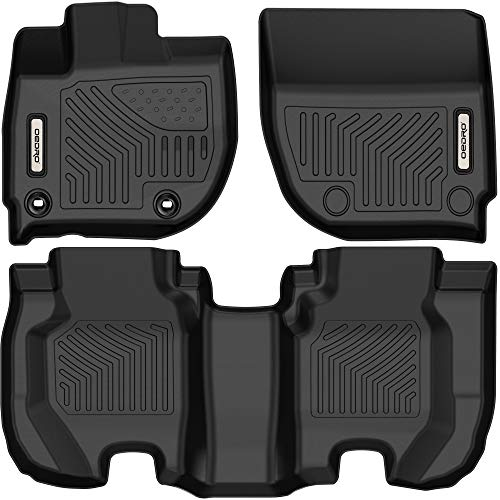 oEdRo Floor Mats Compatible with 2015-2020 Honda Fit, Custom Fit Front & 2nd Row Liner Set, Black TPE All-Weather Guard