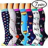 Sabarry Lot de 7 paires de chaussettes de compression pour homme et femme Idéal pour la course, la médecine, le sport, les voyages en avion, la grossesse 20-25 mmHg S/M Chaussettes de compression 1