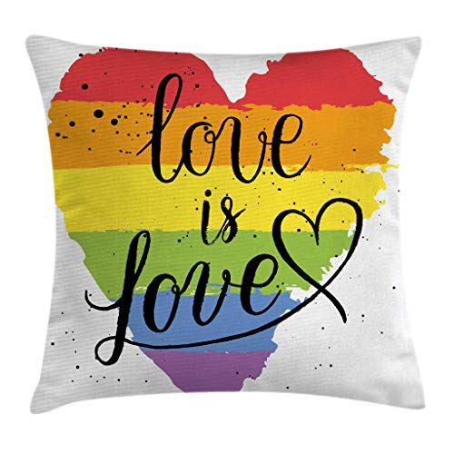 Ambesonne Pride Throw Pillow Cushion Cover, LGBT Gay Lesbian Parade Love is Love Hand Writing Paint Strokes, Decorative Square Accent Pillow Case, 36' X 36', Red Black