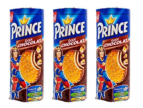 LU - Galletas de chocolate Prince - 3 paquetes - 300g por paquete - Galletas con sabor a chispas de chocolate - Con pepitas de chocolate - Rico en cereales - Relleno de crema de cacao intercalado