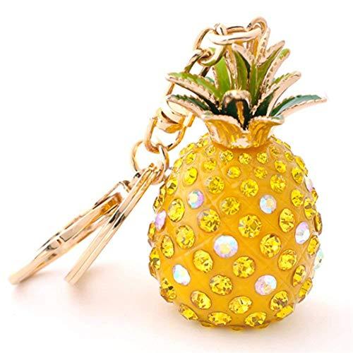 JOOFFF Anhänger Schlüsselbund Schlüsselanhänger Ananas mit Obst Strass Anhänger Cute Creative Handy Tasche Zubehör Schlüsselbund Geschenk, gelbe Ananas