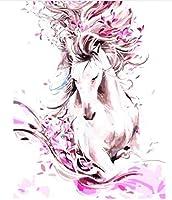 数字油絵 数字キット塗り絵 手塗り Diy絵 デジタル油絵ホースピンク-フレームレス 40* 50 Cm