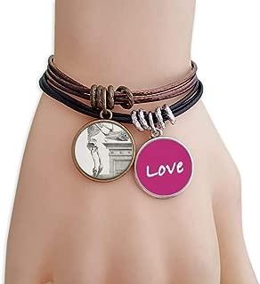 Skeleton Human Body Pattern Decoration Love Bracelet Leather Rope Wristband Couple Set